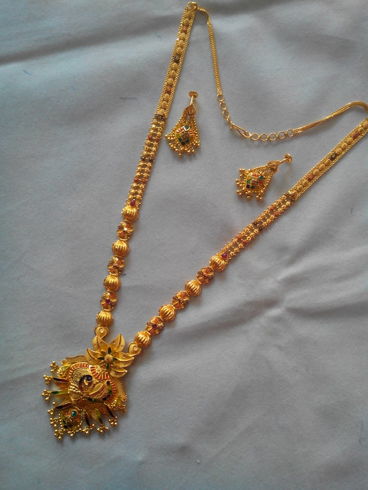 long fancy gold haram with peacock pendant | 916 jewellery ...