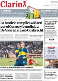 PRIMERA PAGINA  EL CLARÍN DE ARGENTINA