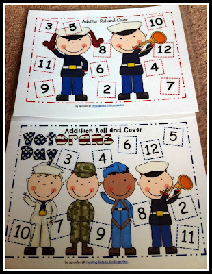 http://www.teacherspayteachers.com/Product/Military-Veterans-Day-Themed-Roll-Cover-Addition-Subtraction-Games-955762