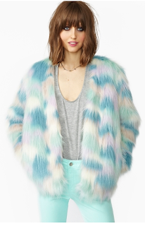 Fantasy Faux Fur Coat Rainbow Nasty Gal
