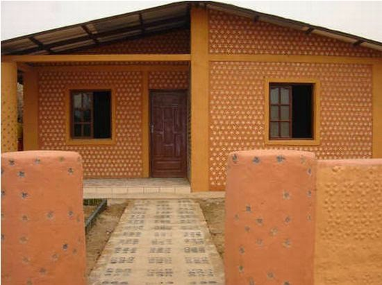 You want house made of recycled bottles containers and for Building with recycled plastic
