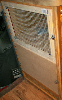 The front of the rabbit hutch