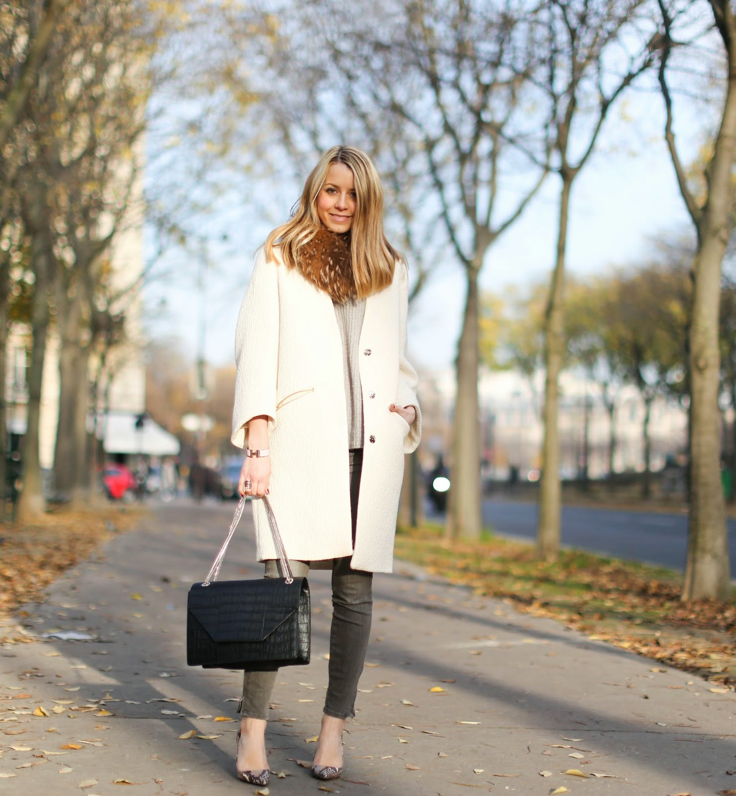 white, zara, brand, zara shoes, fur collar, saint laurent betty, fashion blogger, street style, paris