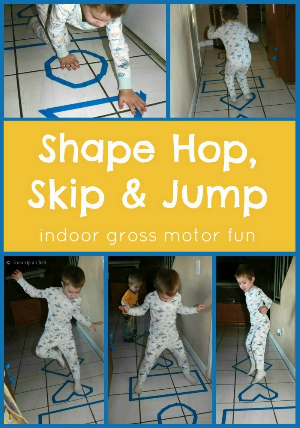 Shape toss hop skip and jump indoor gross motor game for Indoor gross motor activities