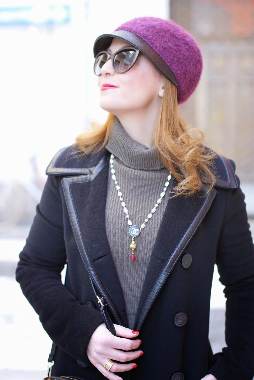 Balenciaga black coat, jockey hat, Theatrebijoux necklace, Sofia borse Candy pochette, Fashion and Cookies, fashion blogger
