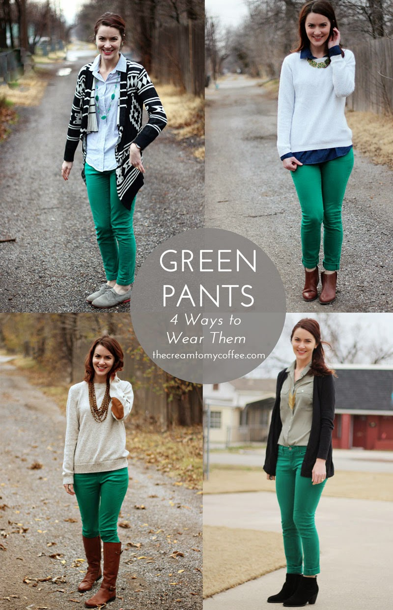 Green Week Linkup: 4 Ways To Wear Green Pants | The Cream to My Coffee