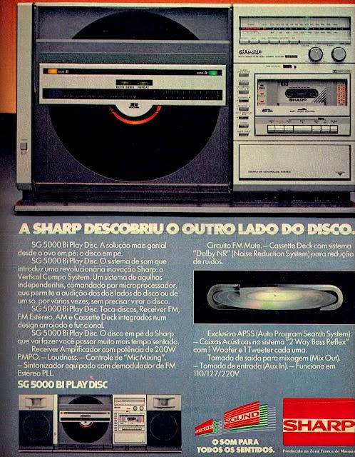 Propaganda do Toca Discos em Vertical da Sharp. Apresentado em 1984 com muitas inovações para os amantes do som.