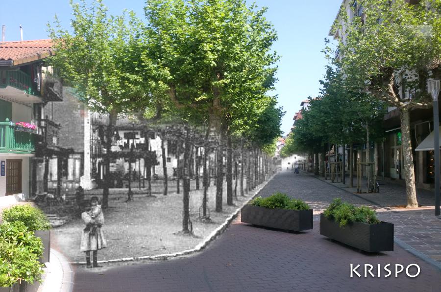 montaje de foto antigua y actual de la calle San Pedro de Hondarribia