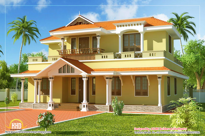 Kerala model home design - 2550 Sq. Ft. (236 Sq. M.) (283 Square Yards  title=