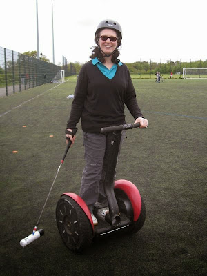 Lola I on Segway with mallet
