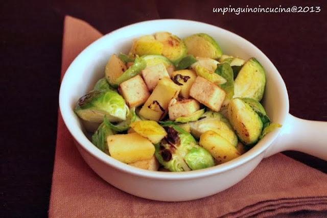 padellata di cavoletti con mela e tofu