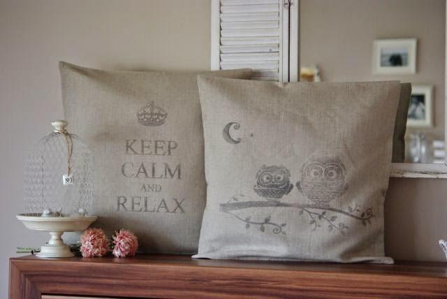 poduszka z grafiką , poszewka vintage , poduchy shabby , keep calm and relax