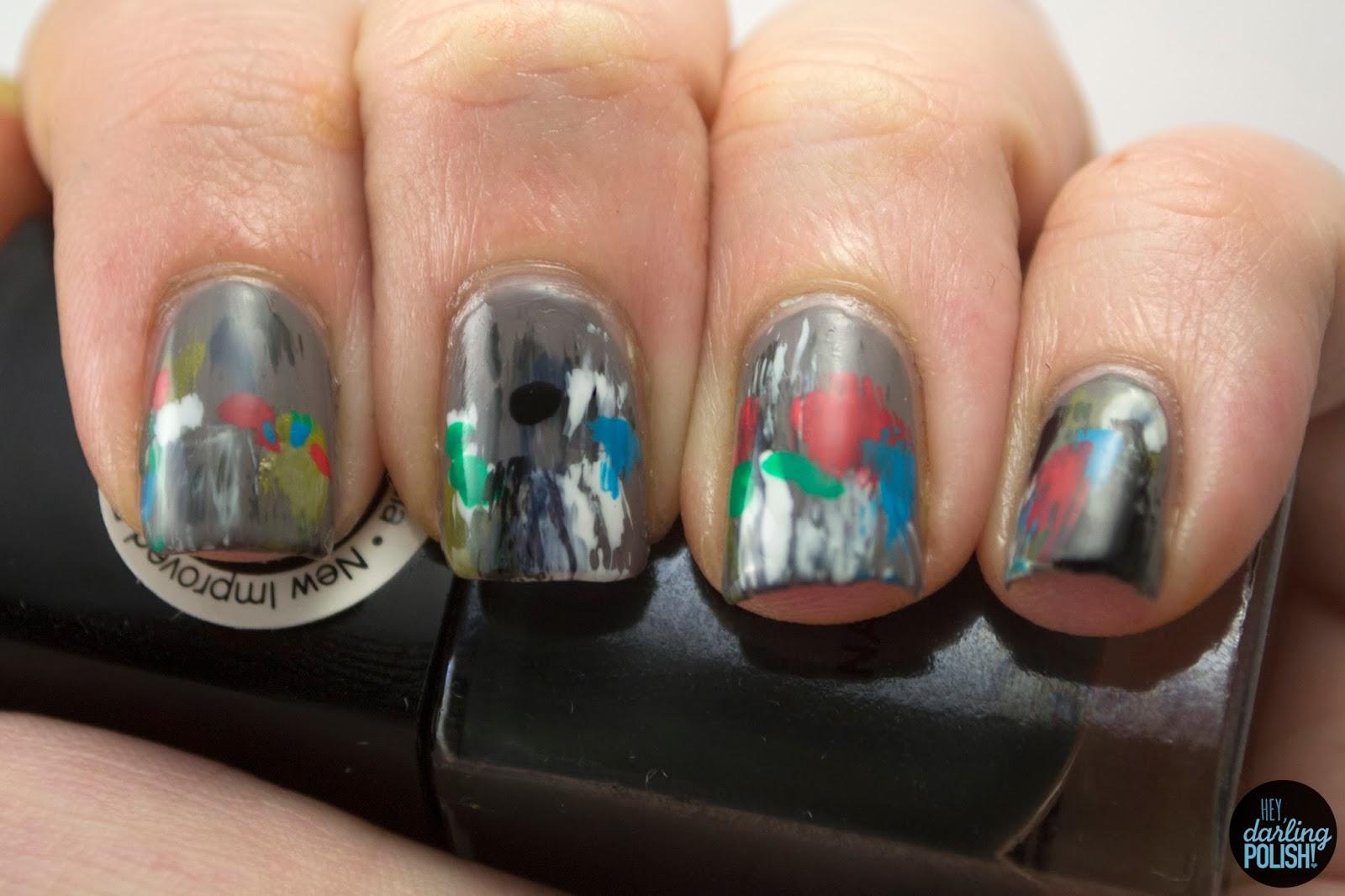 nails, nail art, nail polish, polish, abstract, theme buffet, hey darling polish