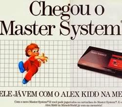 Propaganda do lançamento do Master System com o jogo Alex Kidd na memória.