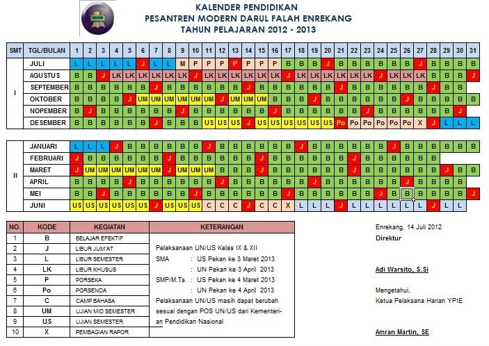 KALENDER PESANTREN 2012/2013