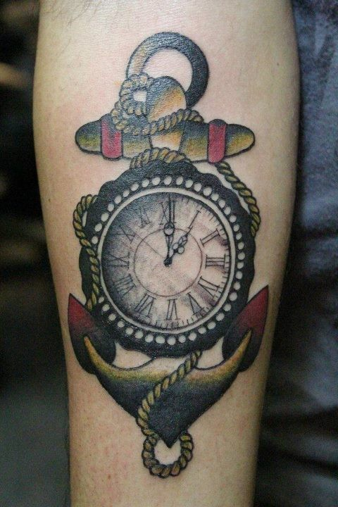 Coloured anchor and a compass tattoo