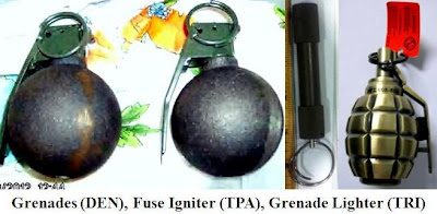 Inert grenades, fuse igniter, and a grenade lighter. 