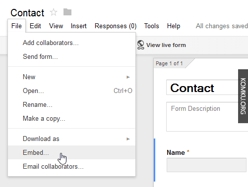 Google Drive Embed the Contact Form