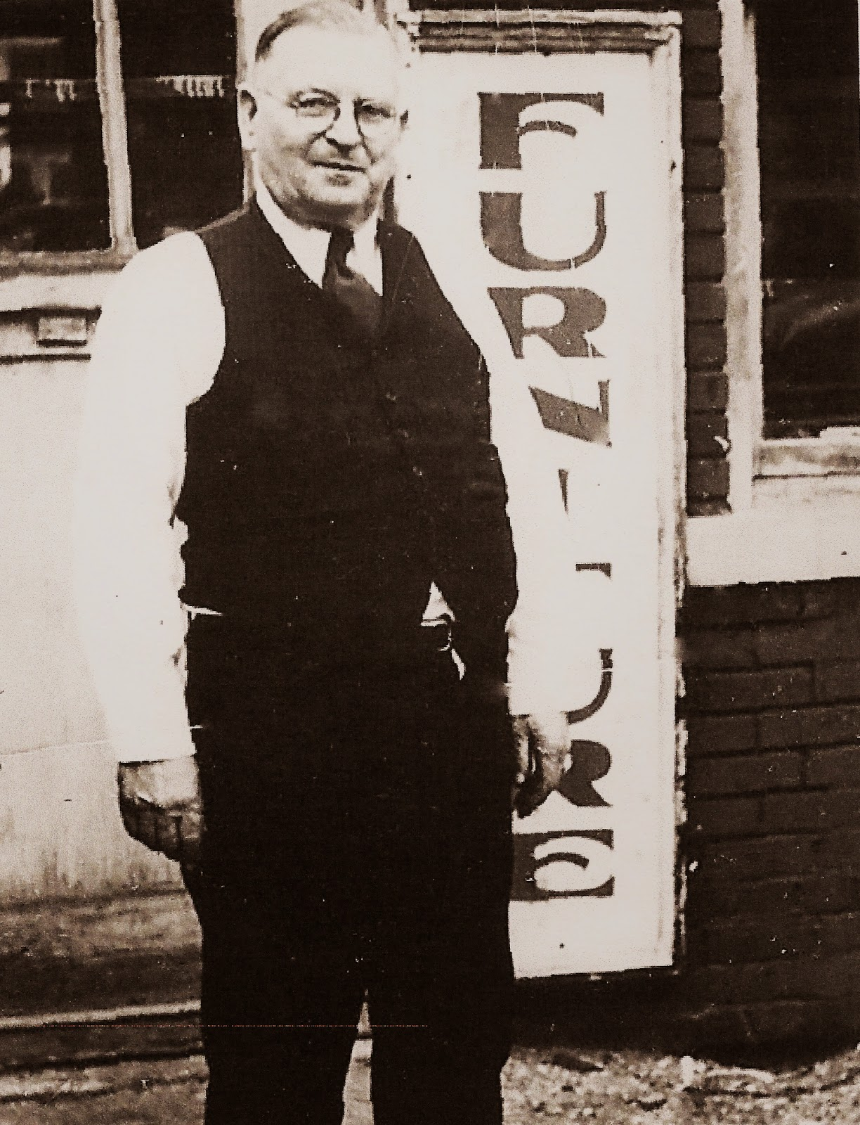 Milton In Front Of His Store In Vincennes.