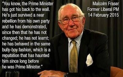 Malcom Fraser criticising Tony Abbot prime minister