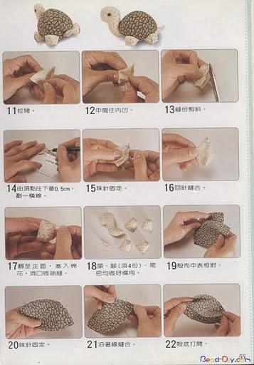 Moldes tartaruga de tecido