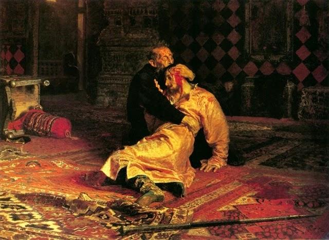 Ivan, o Terrível, e seu filho Ivan, Ilya Repin, pintura macabra, mortalha