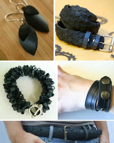 Dari ban bekas kita juga bisa membuat perhiasan dan sabuk