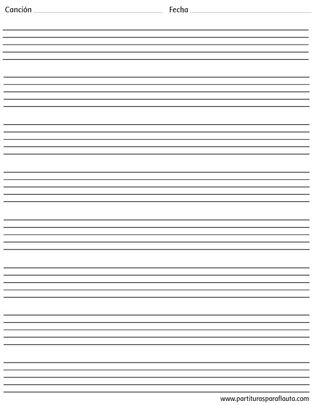 Hoja pautada en blanco PDF