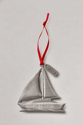 Lands' End personalized sailboat ornament