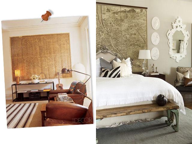 tête de lit avec carte vintage