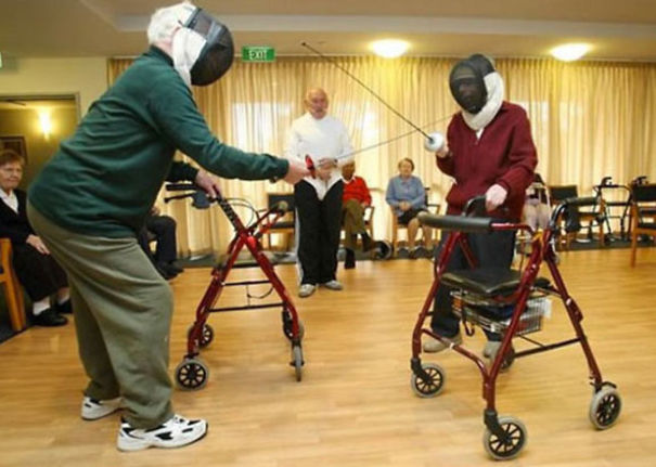 16 Elderly Couples Prove You're Never Too Old To Have Fun - These Duelers Don't Let Their Walkers Slow Them Down