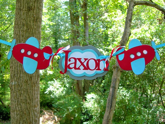 Personalized Airplane and Cloud Highchair Birthday Banner MADE To ORDER red blue plane