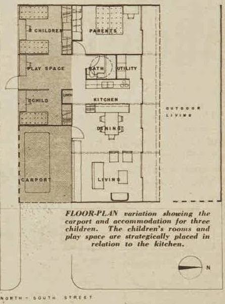 Plan of the 'future house' 1954 by Harry Siedler