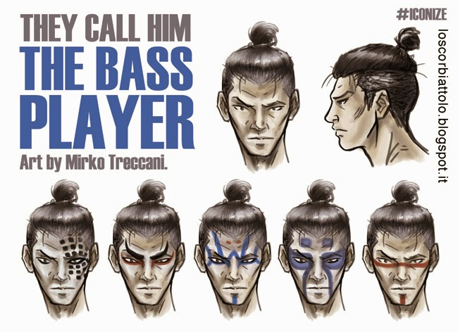 hero the bass player face character design mirko treccani