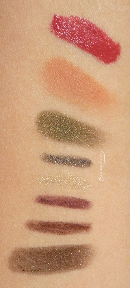 Swatches of Kiko makeup products from Rebel Romantic, Midnight Siren and Cosmic Starlets collections