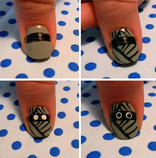 Easy halloween nail art tutorial neon rattail your motley crew of halloween nail art characters is complete prinsesfo Choice Image