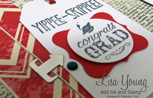 Stampin' Up! Dictonary background stamp with Yippee- Skippee sentiment. Graduation card in Red and Black. Handmade by Lisa Young, Add Ink and Stamp.