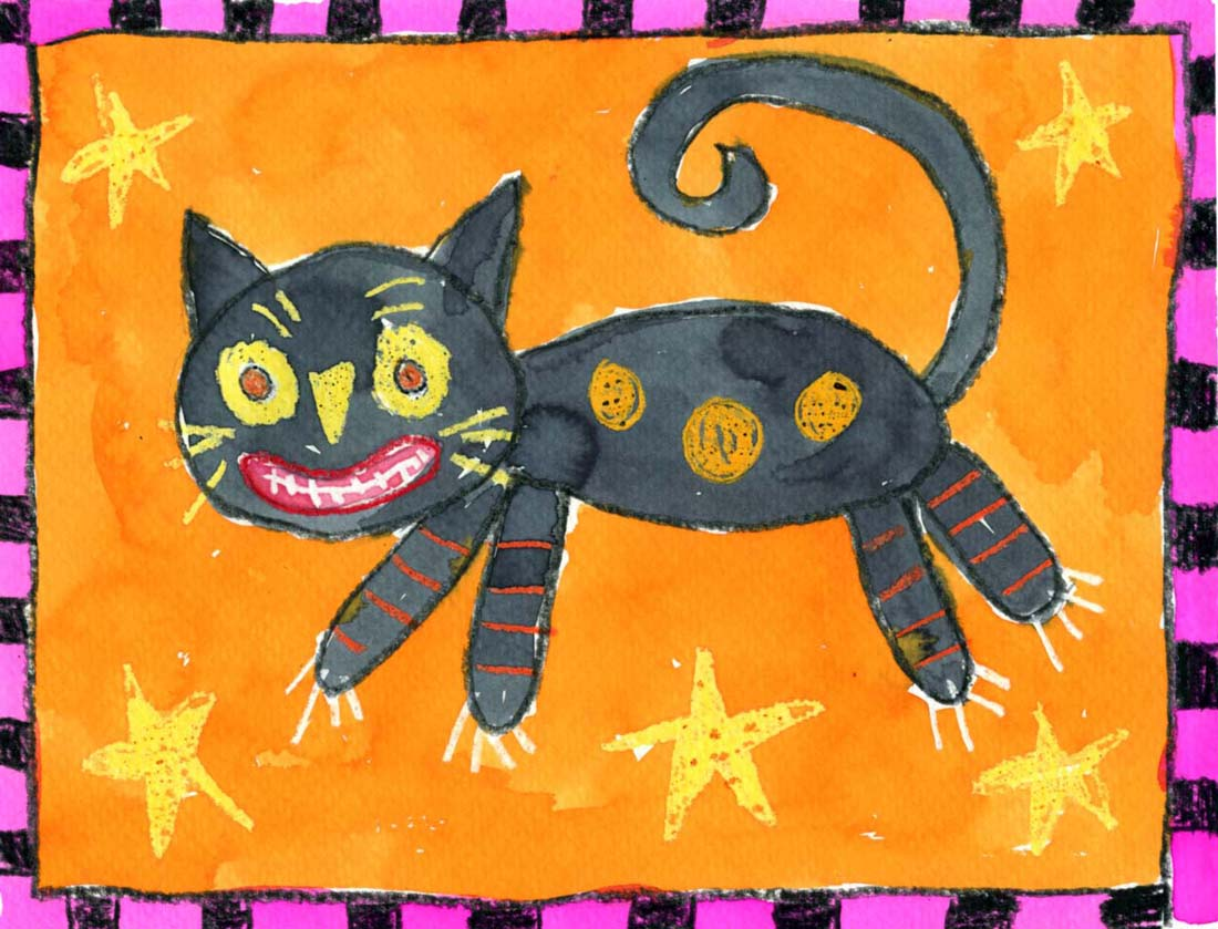 Folk art halloween cat painting art projects for kids for Cat art and craft