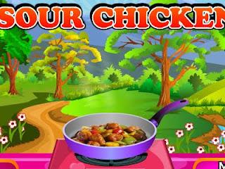 Juego de hacer pollo con verduras en salsa