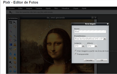 Aplicar corte redondo com fundo transparente no Pixlr