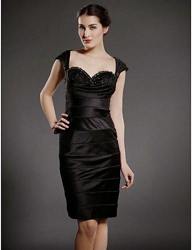 Vestido Noche Negro de Satén