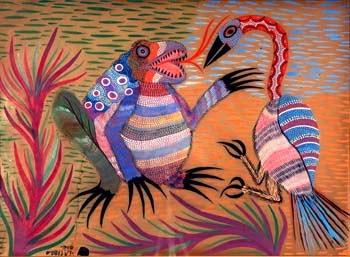 pintura de sapo e ave