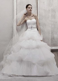 Oleg Cassini Tulle Ball Gown with Pick Up Skirt Style CWG435