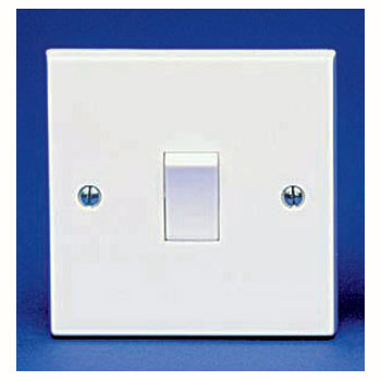 The BG 911B Square Edge - 1 Gang 1 Way Switch White Plastic
