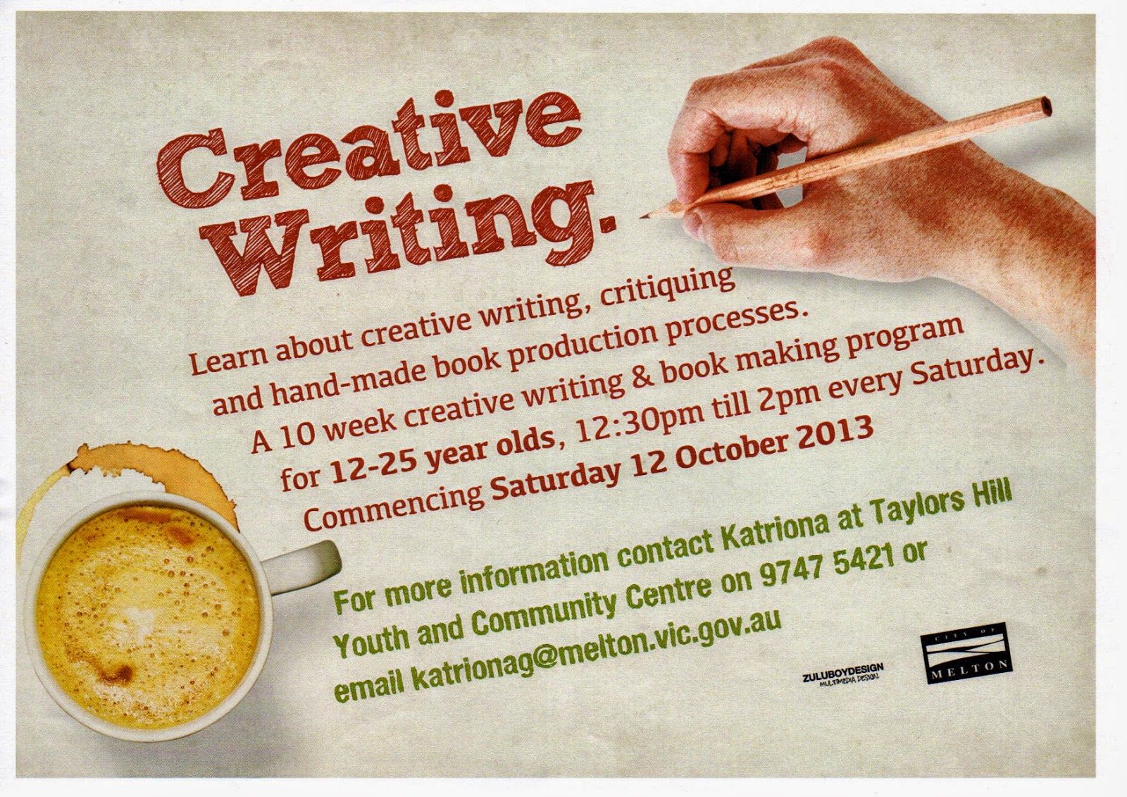 creative writing 2013 The creative writing program is an honours program students planning to apply  for admission to the creative writing program are strongly advised to take at.