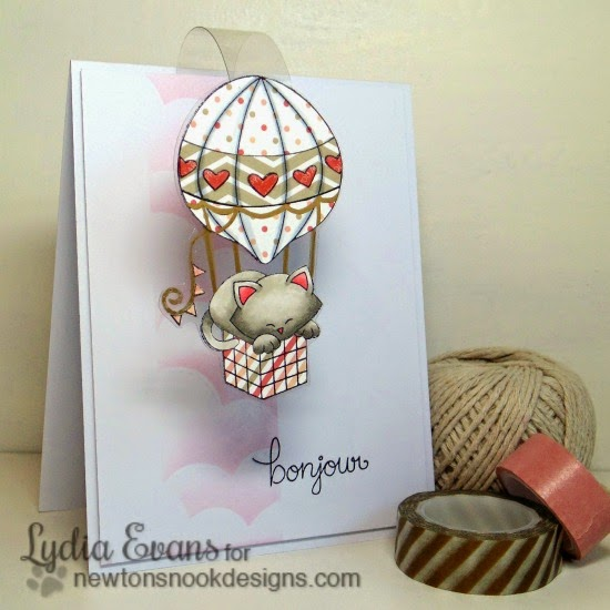 French Kitty in Hot Air Balloon | Card by Lydia Evans | Newton's Nook Designs | Newton Dreams of Paris Stamp Set