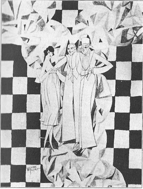 William Faulkner, Drawing of two men and a woman standing before a checker-board background: Ole Miss 1917-1918 vol. XXII p. 111, introducing a section of Social Activities