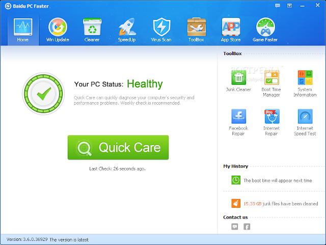 تحميل برنامج بايدو لتسريع وصيانة وتحسين اداء اجهزة الكمبيوتر مجاناً Baidu PC Faster 3.7.2.44568