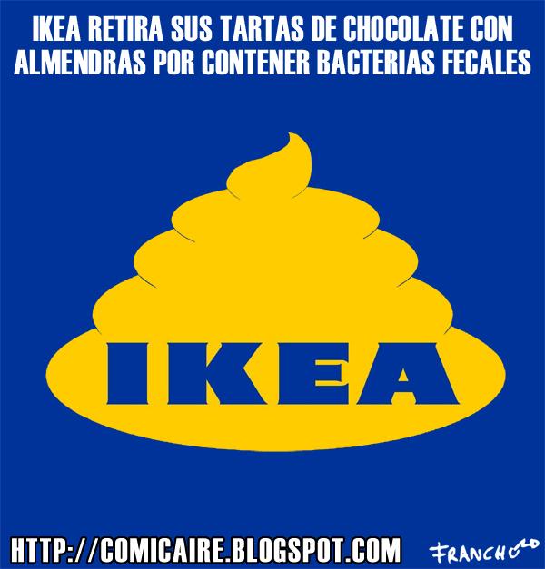 Vinyeta d'humor gràfic sobre la polèmica del pastel de chocolate con almendras, que en realidad era de mierda de IKEA