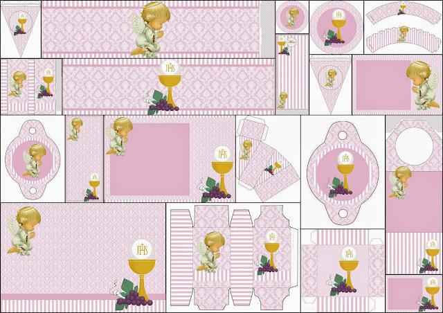 Kit con Ángeles de Precious Moments y fondo en Lila para Primera Comunión, para Imprimir Gratis.